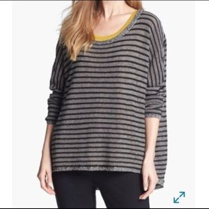 Eileen Fisher Wool & Linen Blend Striped Boatneck